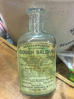 Roderic's Cough Balsam Portland Maine Labeled Antique Medicine Bottle