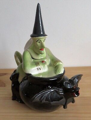 Unusual original, Halloween style Witch, Bat and Cat collectors Teapot in VGC.