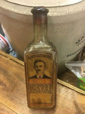 Dr Alexanders Healing Oil Columbus Georgia Antique Labeled Medicine Bottle