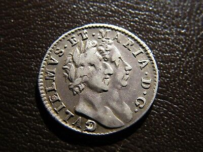 1689 William and Mary Silver Maundy Groat Fourpence Coin Scarce