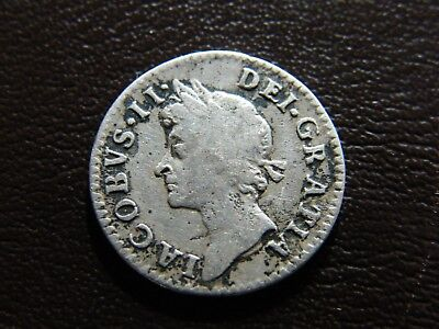 1687 James II Silver Maundy Groat Fourpence Coin