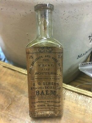 Elmers Pain Killing Balm Northfield Mass Sample Cure Antique Medicine Bottle