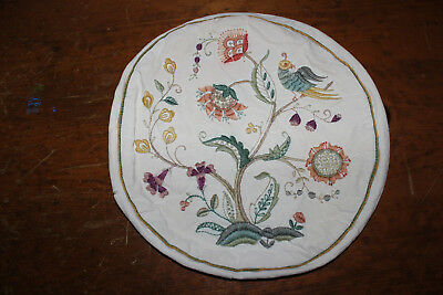 Antique Vintage Arts & Crafts Crewel Embroidery Round Zippered Pillow Cover