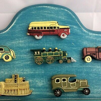 3D Vintage Transportation Wood Wall Shelf w Pegs Boys Room Decor Blue Distressed