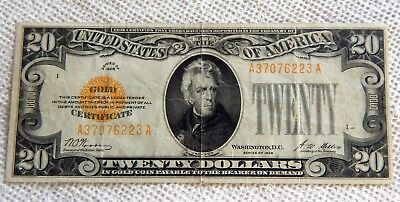 Series 1928 $20 DOLLAR UNITED STATES Gold Certificate Woods Mellon MID GRADE PPQ