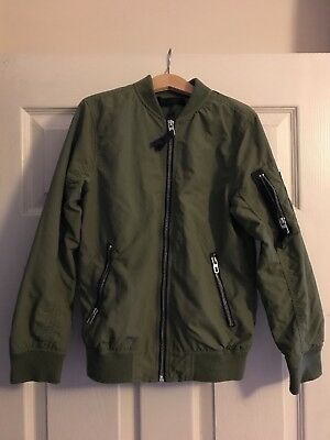 H&M Khaki Green Boys Bomber Jacket Size 8-9