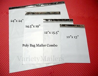 40 Poly Bag Envelope Mailer Variety Pack ~ 4 LARGE Sizes  ~ Self-Sealing
