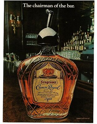 1977 Seagram's CROWN ROYAL Whisky Whiskey Chairman Of The Bar VTG PRINT AD