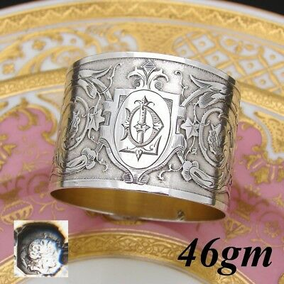 """Antique French Sterling Silver Napkin Ring, Foliate & Textured Decoration, """"DL"""""""
