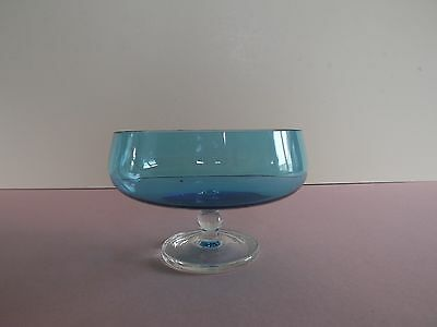 Footed Turquoise Blue Glass Sweet Dish  (72.275)