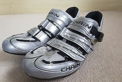 Chain Road Cycling Shoes Mens Size 45 Silver With Keo Cleats Used