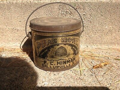 ANTIQUE HONEY BEE APIARY GALLUPVILLE NEW YORK LITHO TIN PAIL w/ LID