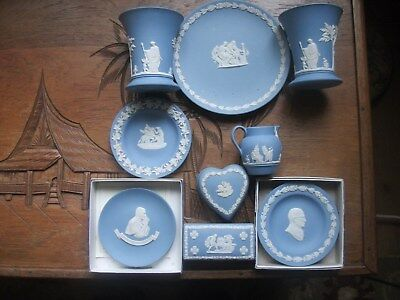 Wedgwood blue jasper ware 9 pieces job lot (Plate vases trinket boxes pin trays)