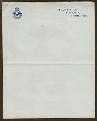WWII ROYAL CANADIAN AIR FORCE Stationery ~ R.C.A.F. Station, Dishforth, England