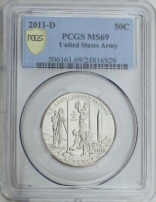 2011-D United States Army Commemorative Uncirculated Clad Half Dollar PCGS MS69