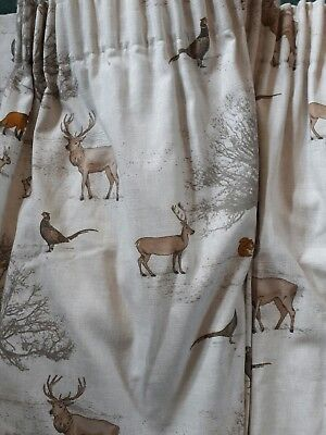 Tatton Woodland Fox Nursery Curtains Material Fabric Lined