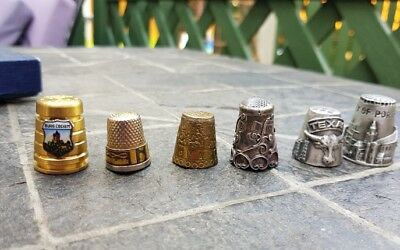 6 attractive collectable thimbles various mixed metals