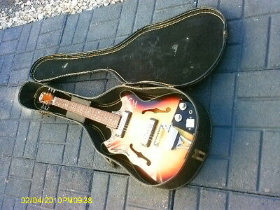 Rare Vintage Early 1960,s Made In Japan Telsco Del Rey Hollow  Electric Guitar