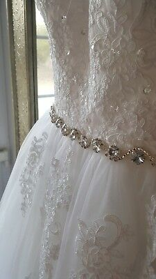 Petite white tulle wedding dress strapless ballgown size 6
