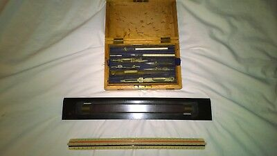 Old drawing set and 2 old rulers - Draughtsman's / Architect's Drawing