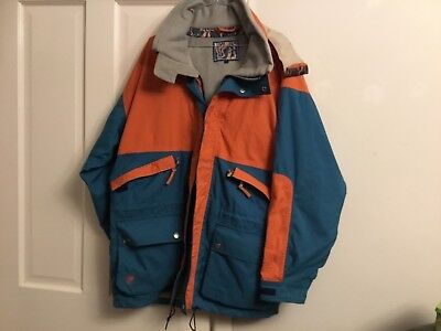 MENS FAT FACE SKI JACKET and TROUSERS/SALAPETTES XL orange/greeny blue