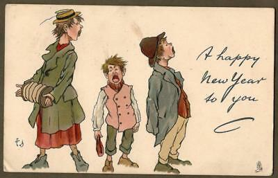 TUCK ~ a/s T.E. DONNISON ~ 3 Urchins Sing Happy New Year ~ Christmas Ser. # 1795