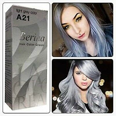 Berina A21 light silver grey color permanent hair dye cream unisex - Punk Style