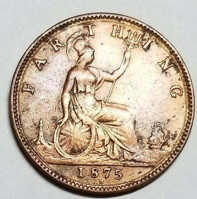UK 1875-H One Farthing Victoria 2nd portrait No Reserve KM #753