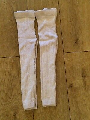 Girls Cream Ribbed Leggings 4-5 Years x 2 Ex condition - TWINS??