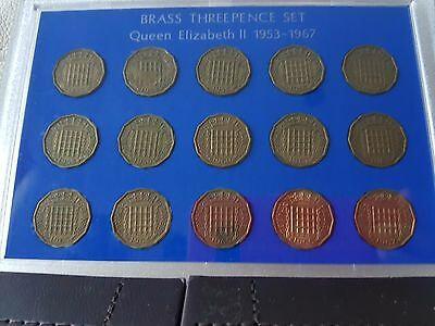 1953 to 1967 GB Brass Threepence 3d Coin Set QEII mint excellent condition