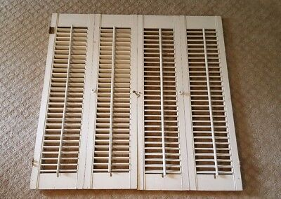 """Vtg White Wood Wooden Louvered Interior Window Shutters 34 3/4"""" Tall 35"""" Wide"""
