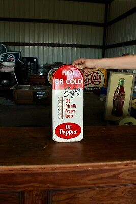 Original 1950's Dr. Pepper Soda Pop Advertising Thermometer Sign!
