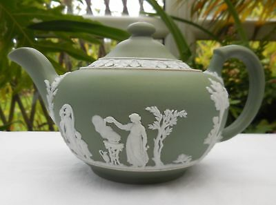 Antique Wedgwood Green Jasper Ware Teapot