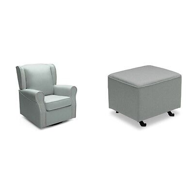 Delta Furniture Middleton Upholstered Glider with Gliding Ottoman, Sea Breeze