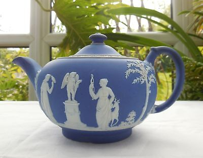 Antique Wedgwood Blue Jasper Ware Teapot