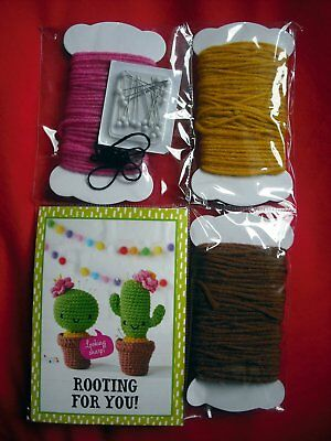 Unopened Simply Crochet Cactus Pincushion Kit with Yarn, Thread & Needles