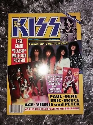 Kiss RIP Rare US PHOTO Magazine 1990 + Poster Gene Simmons Ace Frehley Eric Carr