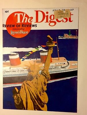 1937 Adolph Treidler THE DIGEST FRONT COVER Statue of Liberty & Cruise Ship