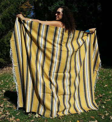 Mexican Serape Fringed Blanket Bedspread 84x60 Golden Brown Stripes 100% Cotton