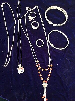 Lot Mixed  Sterling Silver Jewelry necklace, bracelet, ring