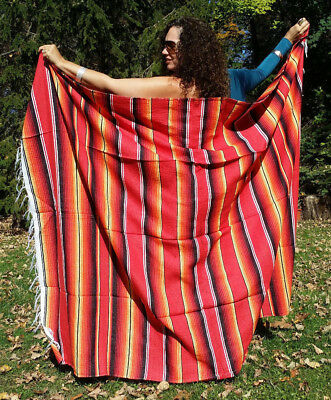 "Mexican Serape Sarape Fringed Blanket Bedspread 84"" x 60"" Firey Fall Red Yellow"