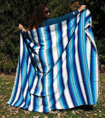 "Mexican Serape Sarape Fringed Blanket Bedspread 84"" x 60"" Icy Blue White"