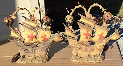 Antique Vtg PAIR 2 CAST IRON Sconce Light Lamp Spanish Mission Ship Inglewood CA