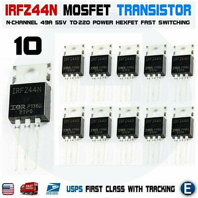 10pcs IRFZ44 IRFZ44N MOSFET Transistor N-Channel HEXFET Power 49A 55V Gate FET