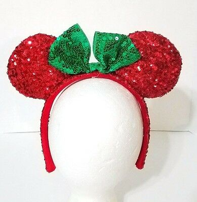 Disney Parks Minnie Mouse Ears Red/Green Sequin Headband Bow Christmas Holiday