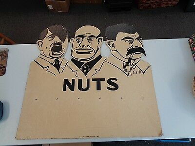 Rare Signed Original WW2 Poster Sign WWII Anti Hitler Mussolini Stalin Nuts