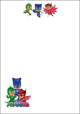 10 A5 PJ Mask Themed Writing Paper - Stationery / Thank you / Invitations BIN