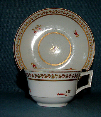 """Derby Porcelain  Tea Cup And Saucer,  C.1830, Gilt And """"red"""" Floral Pattern"""