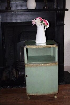 Vintage Green Gold Lloyd Loom Style Glass Topped Bedside Cabinet