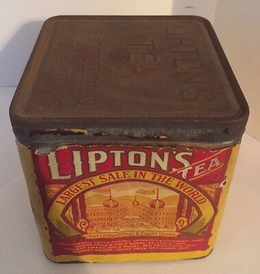 Rare Antique 1930s Lipton's Tea Tin 1 Pound with Red and Yellow Paper Label